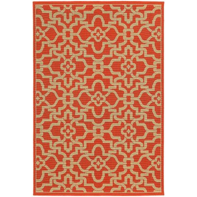 Seaside Orange & Beige Indoor/Outdoor Area Rug Rug Size: Rectangle 37 x 56