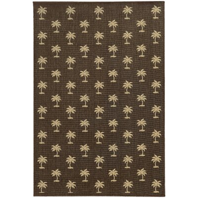 Seaside Brown & Beige Indoor/Outdoor Area Rug Rug Size: Round 7'10