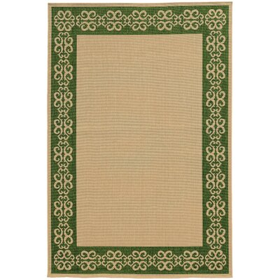 Seaside Beige/Green Indoor/Outdoor Area Rug Rug Size: Rectangle 37 x 56