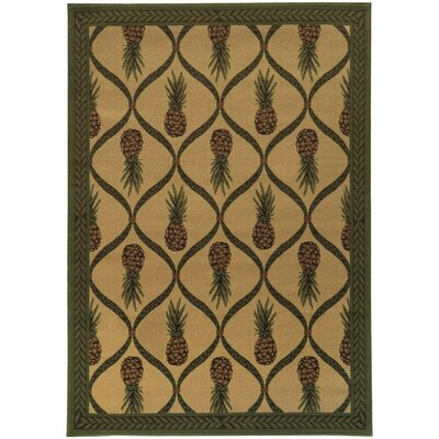 Villa Tan/Green Area Rug Rug Size: Runner 11 x 76