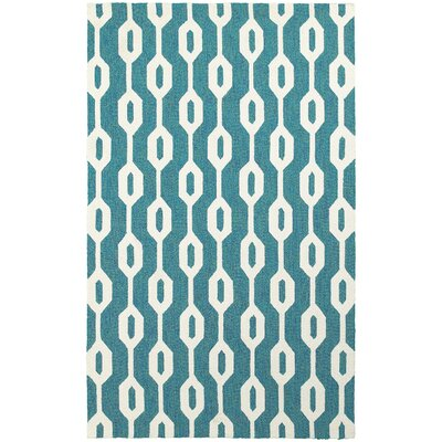 Atrium Geometric Odgee Hand-Woven Blue/Ivory Indoor/Outdoor Area Rug Rug Size: Rectangle 36 x 56