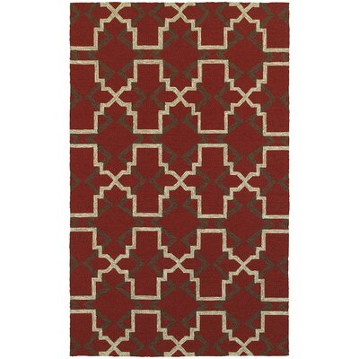 Atrium Lattice Quatrefoil Red Indoor/Outdoor Area Rug Rug Size: Rectangle 36 x 56