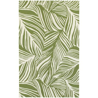 Atrium Tropical Leaf Green/Ivory Indoor/Outdoor Area Rug Rug Size: Rectangle 36 x 56
