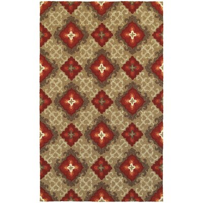 Atrium Floral Panel Brown & Red Indoor/Outdoor Area Rug Rug Size: Rectangle 36 x 56
