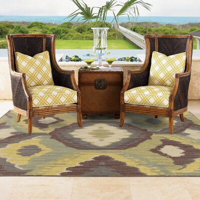 Tommy Bahama Cabana Brown / Blue Abstract Indoor/Outdoor Area Rug Rug Size: Rectangle 110 x 33