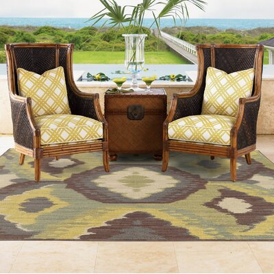 Tommy Bahama Cabana Brown / Blue Abstract Indoor/Outdoor Area Rug Rug Size: Rectangle 710 x 1010