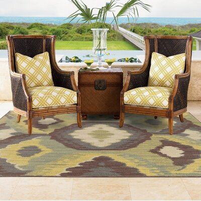 Tommy Bahama Cabana Brown / Blue Abstract Indoor/Outdoor Area Rug Rug Size: Rectangle 53 x 76