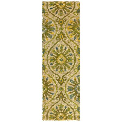 Tommy Bahama Valencia Beige / Green Floral Rug Rug Size: Runner 26 x 8