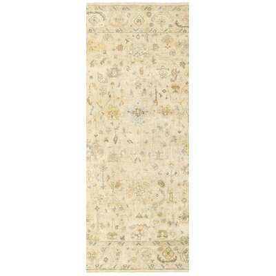 Palace Hand-Knotted Beige Area Rug Rug Size: Runner 26 x 10
