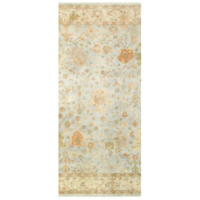 Palace Hand-Knotted Blue/Beige Area Rug Rug Size: Runner 26 x 10