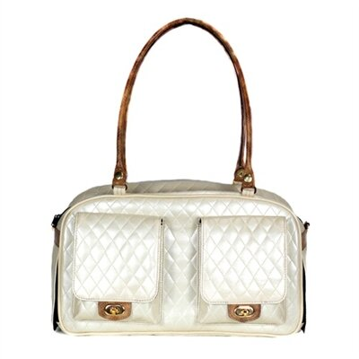 Marlee Quilted Pet Carier Color: Ivory