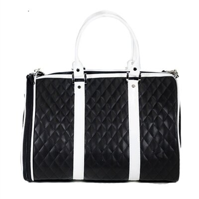 JL Duffel Quilted Luxe Pet Carier Size: Mini (10 H x 9 W x 14 L), Color: Black and White