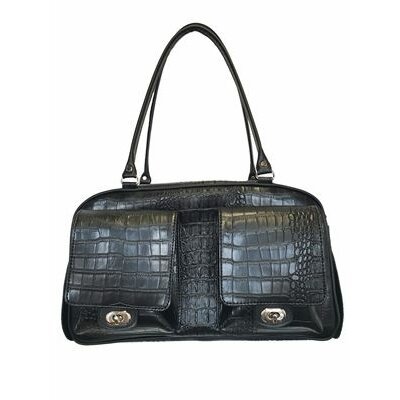 Peabody Croco Pet Carrier Color: Black