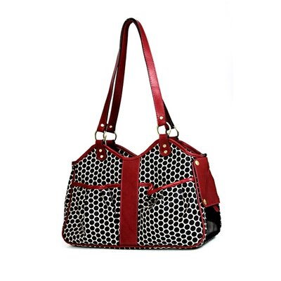 Petote Metro Espresso Dot Pet Carrier with Leather Trim Size: Extra-Small (7.75 H x 5 W x 13 L), Leather Trim: Black Cherry