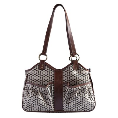 Petote Metro Espresso Dot Pet Carrier with Leather Trim Size: Extra-Small (7.75 H x 5 W x 13 L), Leather Trim: Toffee