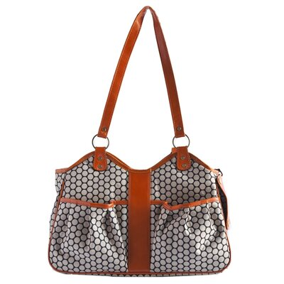 Petote Metro Espresso Dot Pet Carrier with Leather Trim Size: Extra-Small (7.75 H x 5 W x 13 L), Leather Trim: Tangerine
