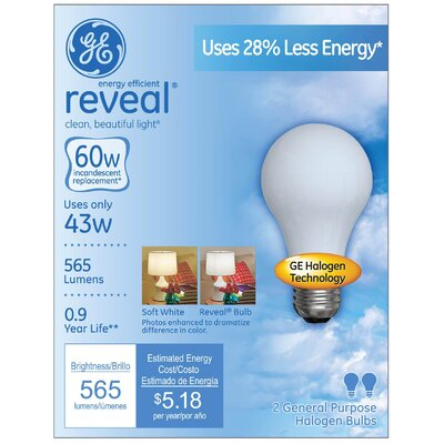Frosted Halogen Light Bulb Wattage: 43W
