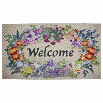Floral Welcome Printed Flocked Doormat