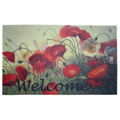 Welcome Poppies Printed Flocked Doormat