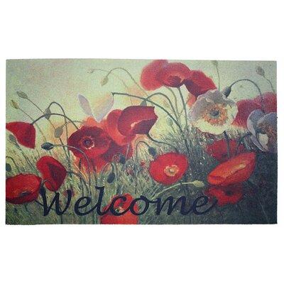 Welcome Poppies Printed Flocked Doormat
