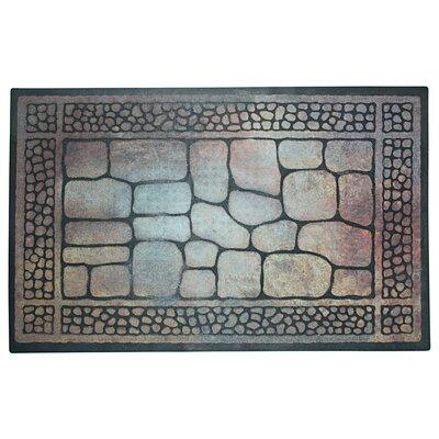 Pebbles and Border Printed Flock Doormat