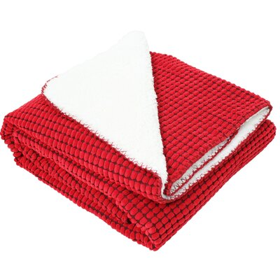 Corduroy Sherpa Fleece Throw Color: Red