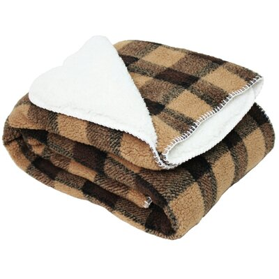 Jacquard Sherpa Fleece Throw Blanket Color: Brown