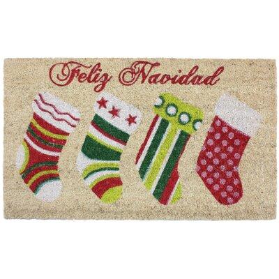 Feliz Navidad Stocking Coco Doormat
