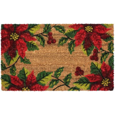 Christmas Poinsettia Coco Doormat