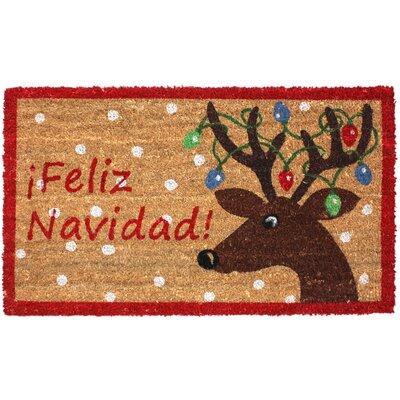 Feliz Navidad Reindeer Coco Doormat