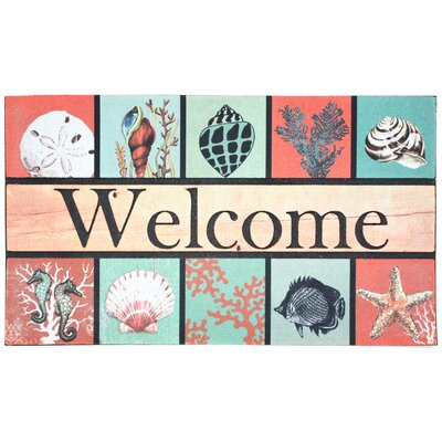 Coastal Welcome Printed Flocked Doormat