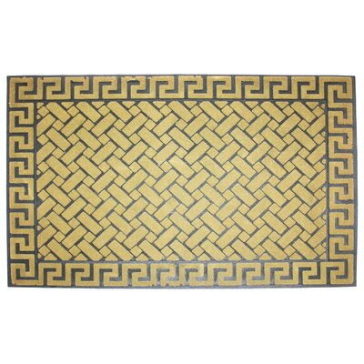 Greek Key Flocked Doormat