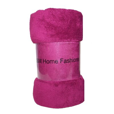 Solid Plush Fleece Throw Color: Magenta Purple