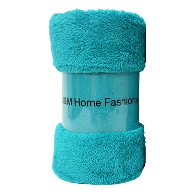 Bright Fuzzy Fleece Throw Color: Teal