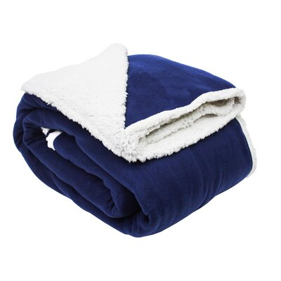 Solid Polar Front/Sherpa Back Fleece Blanket Color: Patriot Blue
