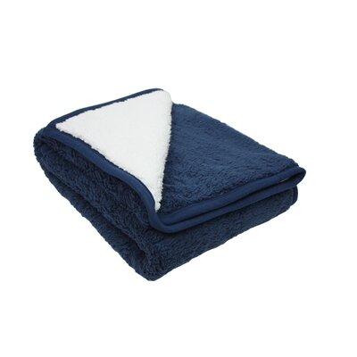 Plush Reversible Sherpa Throw Color: Blue