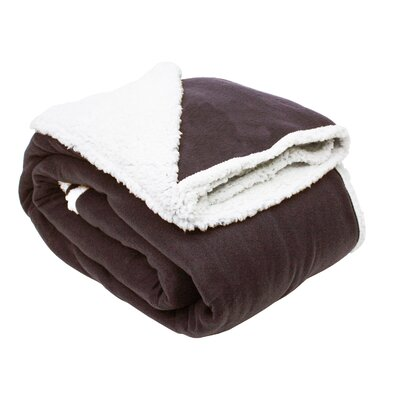 Solid Polar Front/Sherpa Back Fleece Blanket Color: Chocolate