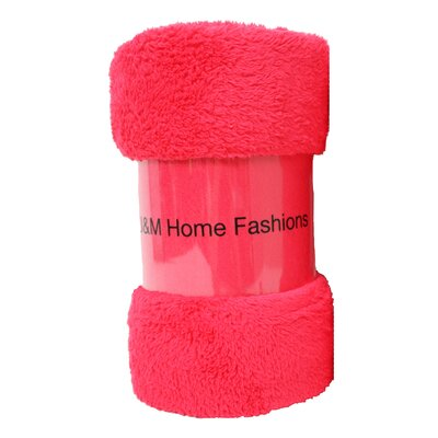 Bright Fuzzy Fleece Throw Color: Raspberry