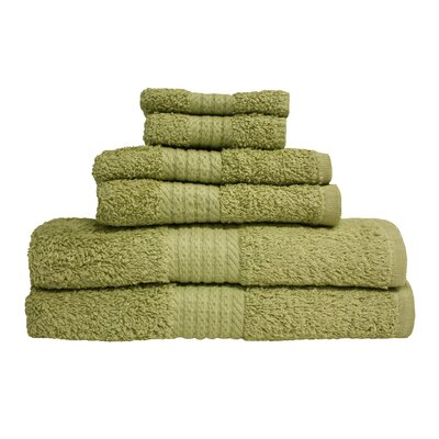 Provence 6 Piece Towel Set Color: Sage Green