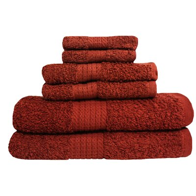 Provence 6 Piece Towel Set Color: Cabernet
