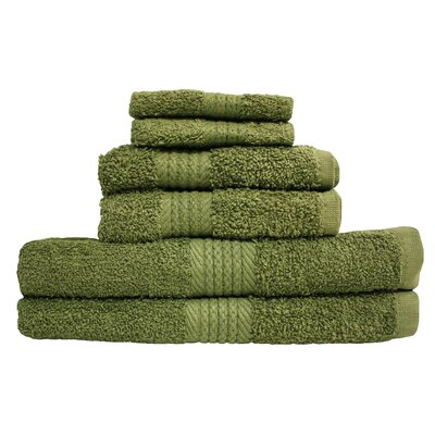 Provence 6 Piece Towel Set Color: Olive Green