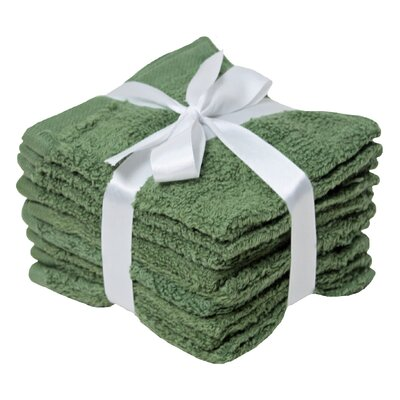 Zero Twist Washcloth 8 Piece Towel Set Color: Thyme