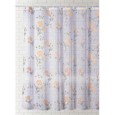 Saundra Fashion Print Vinyl Shower Curtain Color: Orange