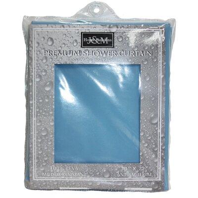 Solid Vinyl Shower Curtain Color: Blue