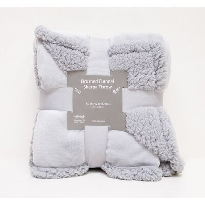 Brushed Flannel with Sherpa Back Solid Throw Color: Light Gray