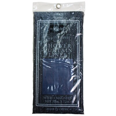 Solid Vinyl Shower Curtain Color: Navy