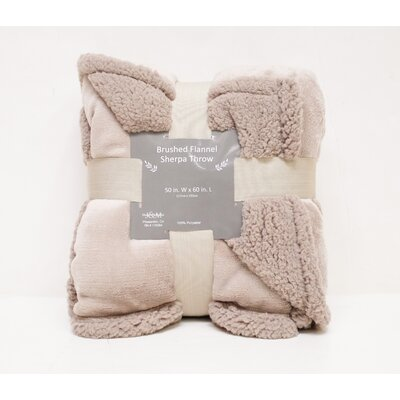 Brushed Flannel with Sherpa Back Solid Throw Color: Taupe