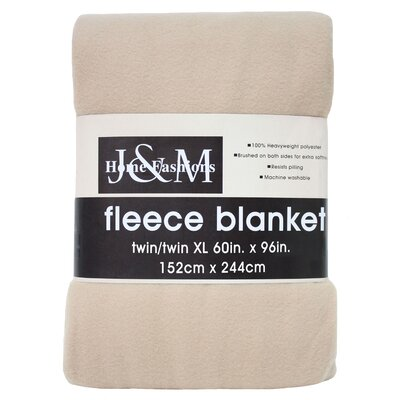 Polar Fleece Blanket Color: Tan, Size: King
