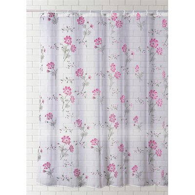 Saundra Fashion Print Vinyl Shower Curtain Color: Pink