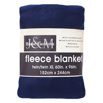Polar Fleece Blanket Color: Dark Blue, Size: King